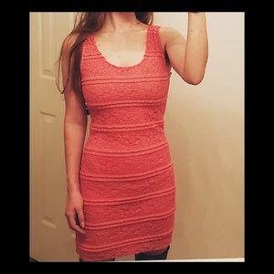Pink/Coral Crochet Mini Dress